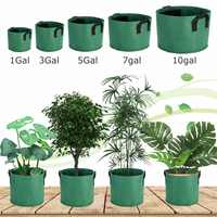 Green Fabric Pots Plant Grow Bags with Handles Planting Bag Seedling Flowerpot Size 1, 35, 7, 10, , Gallon