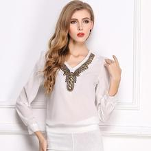 Nice Nice Spring Autumn Fashion WoMen/ladies's  Shirt V-neck Pullover Long Sleeve Chiffon Solid Color Blouses Plus Size S-XXL