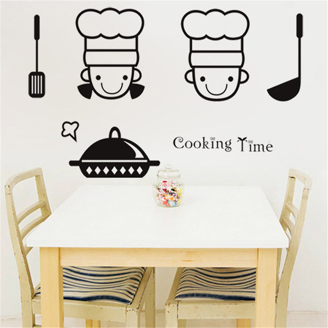 Cooking Time Movable Wall Stickers Murals Restaurant Kitchen Living Room  Vinyl Wall Stickers Art Decals Home