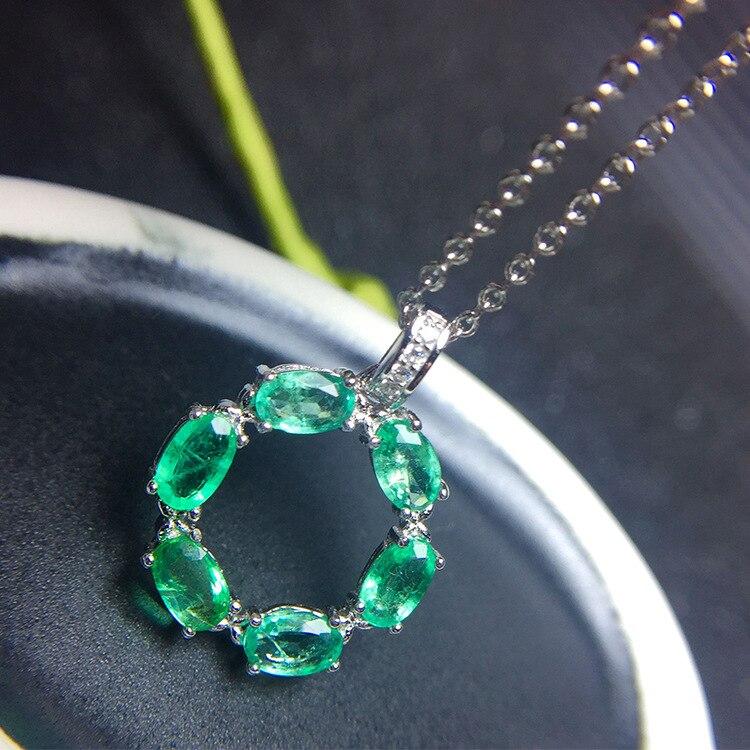 Proste szmaragdowy wisiorek dla pakietu office lady 3mm * 5mm naturalne Zambia emerald srebrny wisiorek i naszyjnik z litego 925 szmaragdowa biżuteria w Celebrytki od Biżuteria i akcesoria na  Grupa 1