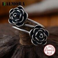 BALMORA Double Flowers Ring Genuine 925 Sterling Silver Retro Elegant Resizable Rings For Women Lover Gift
