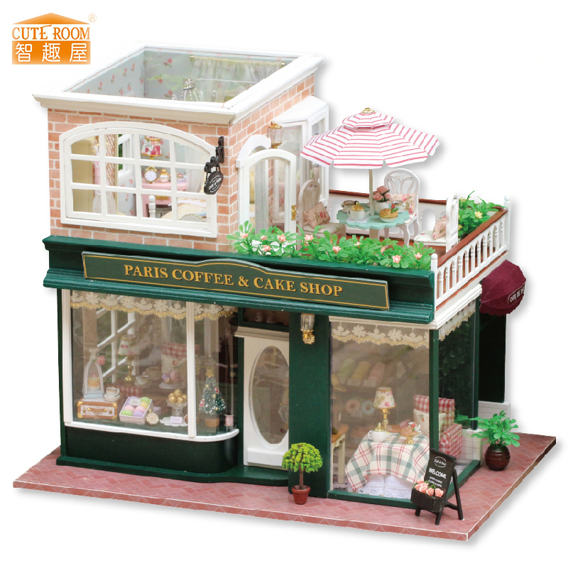Furniture DIY Doll House Wodden Miniatura Doll Houses Furniture Kit DIY Puzzle Assemble Dollhouse font b