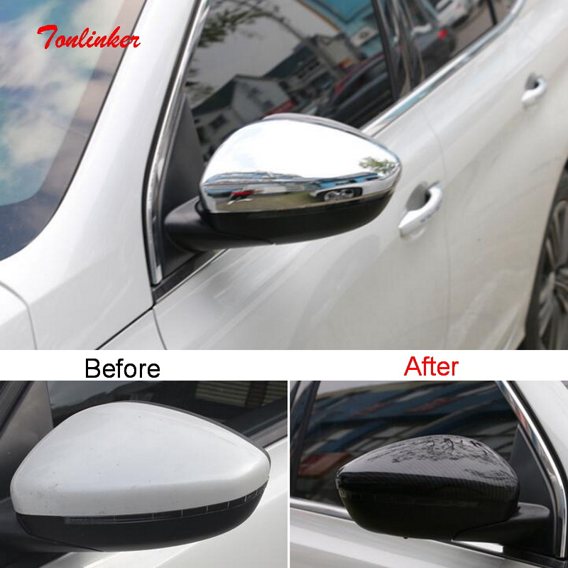 Tonlinker Exterior Car Rear View Mirror Cover Case Sticker For Peugeot 308 T9 2016-19 Car Styling 2 PCS ABS Chrome Cover Sticker