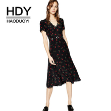 HDY Haoduoyi V Neck Short Sleeve Floural Printed Midi Dress Lace Waist Tie Slim Sweet Style A-line Sexy Dress For Women недорого