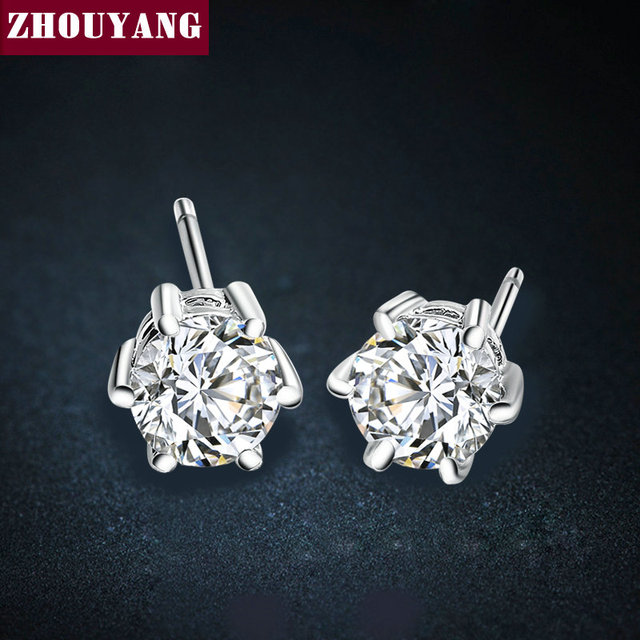 Six Claws 5mm 0.5ct Cubic Zirconia Silver Color Crystal Stud Earrings Jewelry Wholesale E035