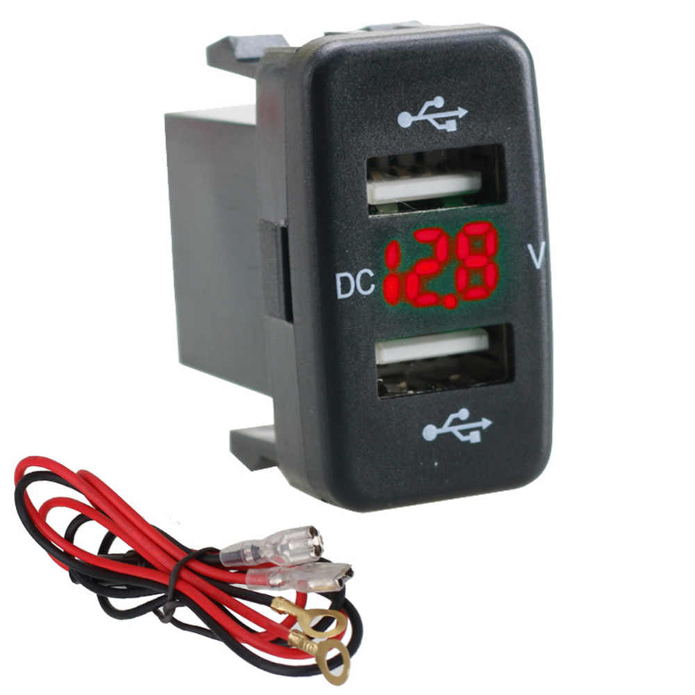 12V-24V Autolader Socket 4.2A Dual Usb Charger Socket Stopcontact Adapter Met Voltmeter Led Licht voor Toyota Hot Sales