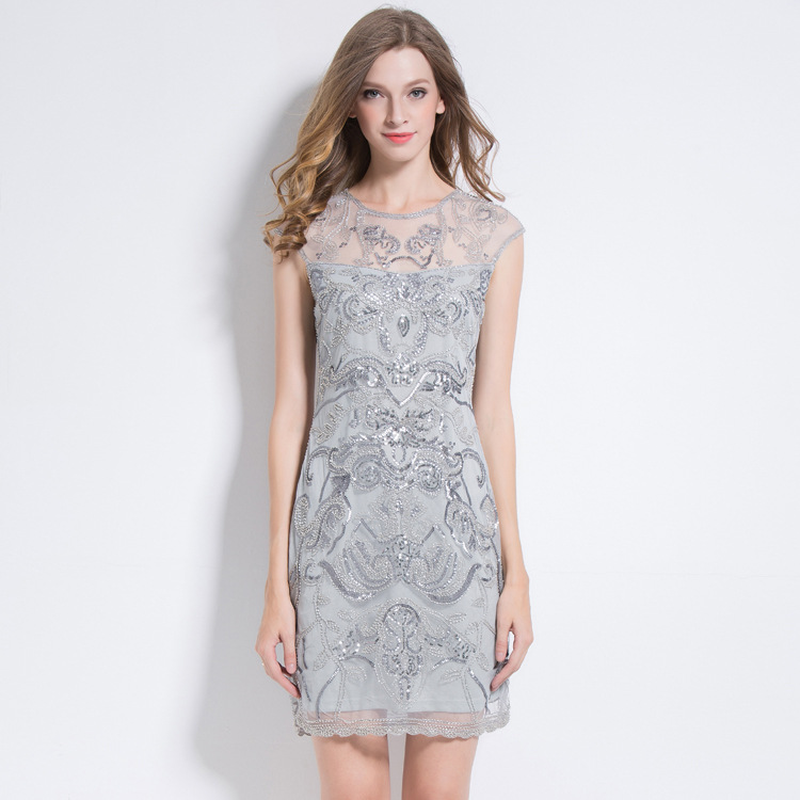 Women Sexy Sleeveless Mesh See Through Sequined Dresses Ladies Hollow Out Lace Mini Formal Party Elegant Bodycon Dress