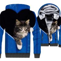 New Fashion Sweatshirts For Men 2018 Autumn Winter Thick Jacket Male 3D Heart CAT Pattern Funny Men's Hoodies Tops Hip Hop Hoody