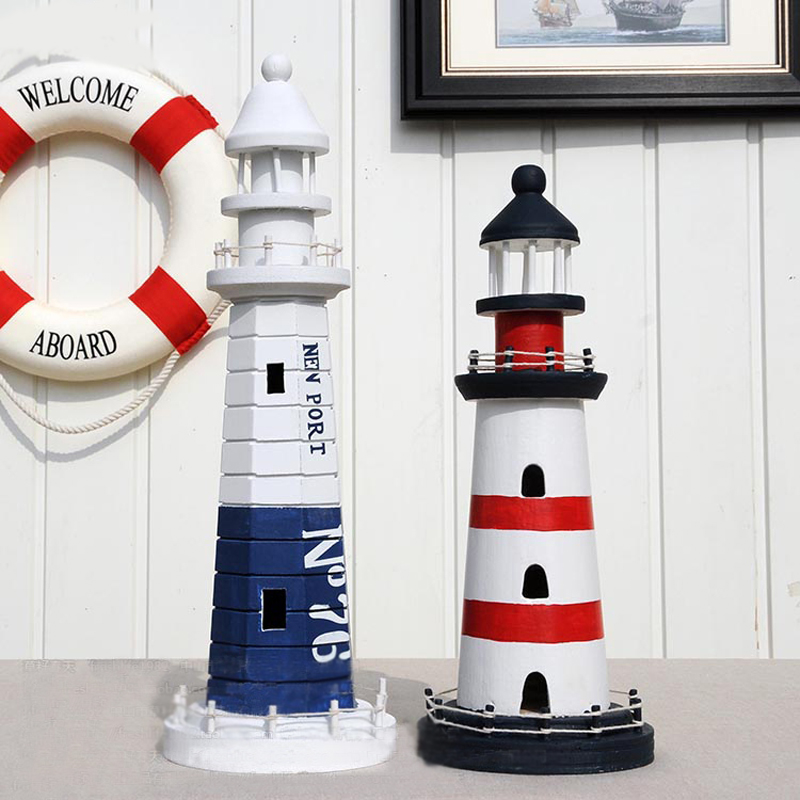 Mediterranean style creative big size wooden lighthouse for Decoration items made at home