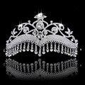 Big Veil Wedding Tiara Noiva Long Rhinestone Drop Tassel Crowns Crystal Bridal Hair Jewelry Wedding Hair Accessories Bride Party