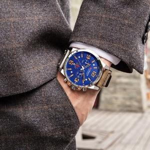 Image 2 - Neue curren 8314 Herren Uhren Top Brand Luxus Männer Militär Sport Armbanduhr Leder Quarzuhr erkek saat Relogio Masculino