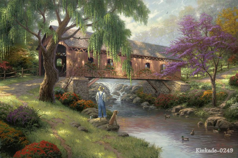 Thomas Kinkade Canvas Print Of Oil Painting The Ole Fishing Hole Childhood Memories Landscape