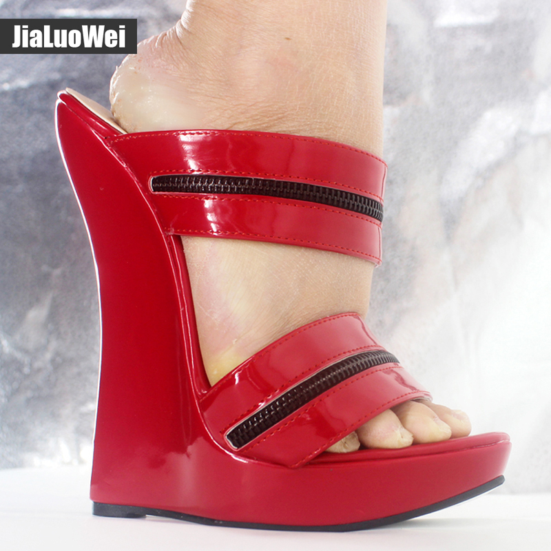 Jialuowei Women Sexy High Wedges Heels Shoes Platform Patent Leather Ankle Strap Sandals Fashion Summer Pumps Ladies Shoes xiaying smile summer woman sandals shoes platform women pumps buckle strap wedges heels fashion casual flock rubber women shoes