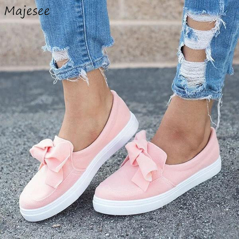 Vulcanize Shoes Women Canvas Trendy Korean Style White Bow Sweet Sneaker Womens All-match Cute Leisure Outside Breathable Female