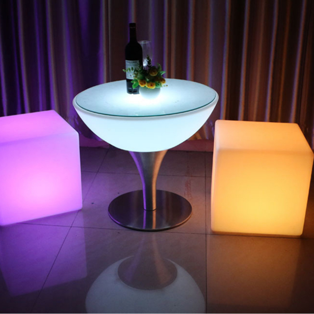 Led Bar Stool Luminous Cube Size20cm Outdoor Ip68 Furniture Creative Remote Switch Control Colorful Changing