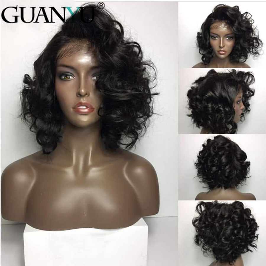 Short Bob 13*4 Brazilian Lace Front Human Hair Wigs With Baby Hair Natural Black Color 8-16 Inch Bob Wigs Pre Plucked Remy Hair Wigs Loose Wave Lace Front Wigs For Women