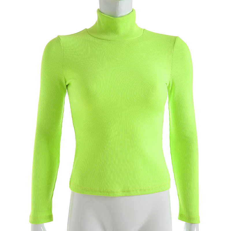 Darlingaga Winter turtleneck long sleeve t shirt women tops Fluorescent green fashion women's t-shirts 2018 casual knitted shirt