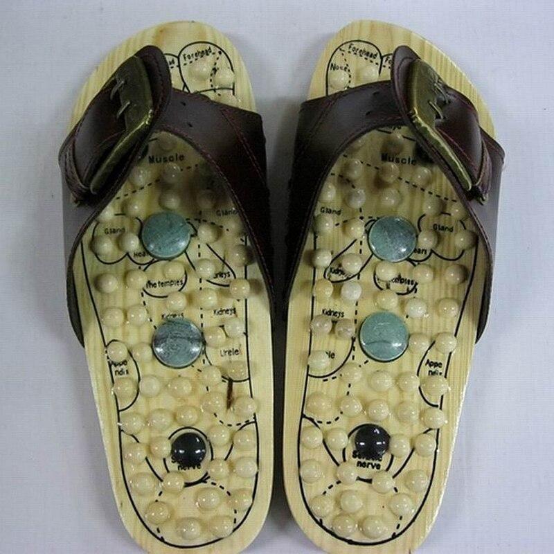 Уход за здоровьем; деревянная основа; акупунктурные массажные тапочки для ног; массажные тапочки с натуральным камнем