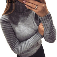 TAOVK Women turtleneck sweater pullovers Lady long Ruffle sleeves Female slim sexy solid color turndown collar skinny sweat top