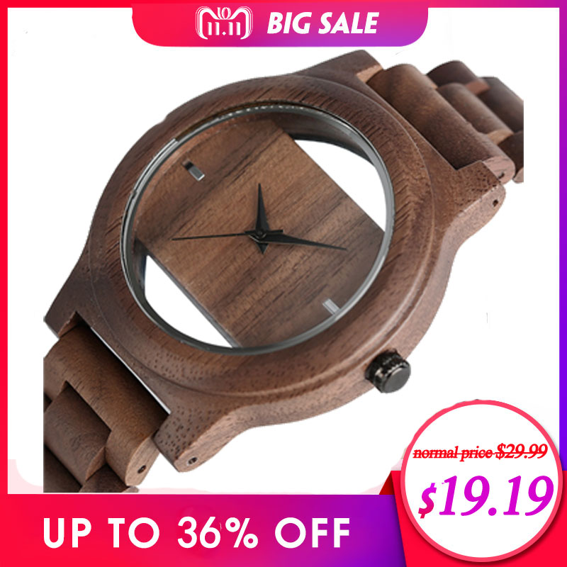 Unique Hollow Dial Men Women Natural Wood Watch med Full Wooden Bamboo Bangle Quartz Armbandsur Nya Handgjorda Klocka Presenter Artikel