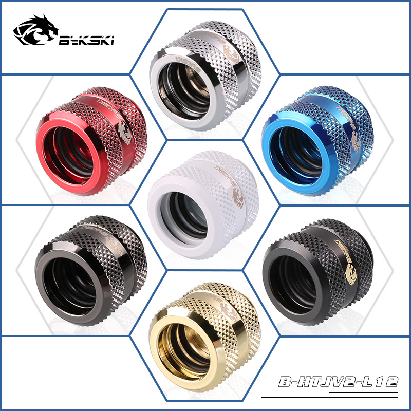 Bykski 12mm 14mm 16mm Rigid Tubing Fitting Hand Compression Hard Pipe Connector G1/4 4 Layer Seals New Arrival