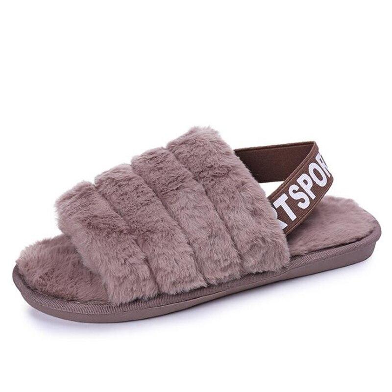 Fur Slippers Shoes Terlik Plush Fluffy Winter Big-Size Womens Cotton Ladies Indoor Warm