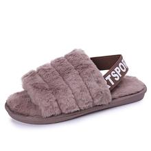 Kobiet kapcie futrzane zimowe buty duży rozmiar domowy kapeć pluszowe Pantufa kobiety kryty ciepły puszysty Terlik but bawełniany damskie buty b2 tanie tanio Dla dorosłych Flock Krótki pluszowe Stałe Gumowe b274 Wiosna jesień Pasuje prawda na wymiar weź swój normalny rozmiar