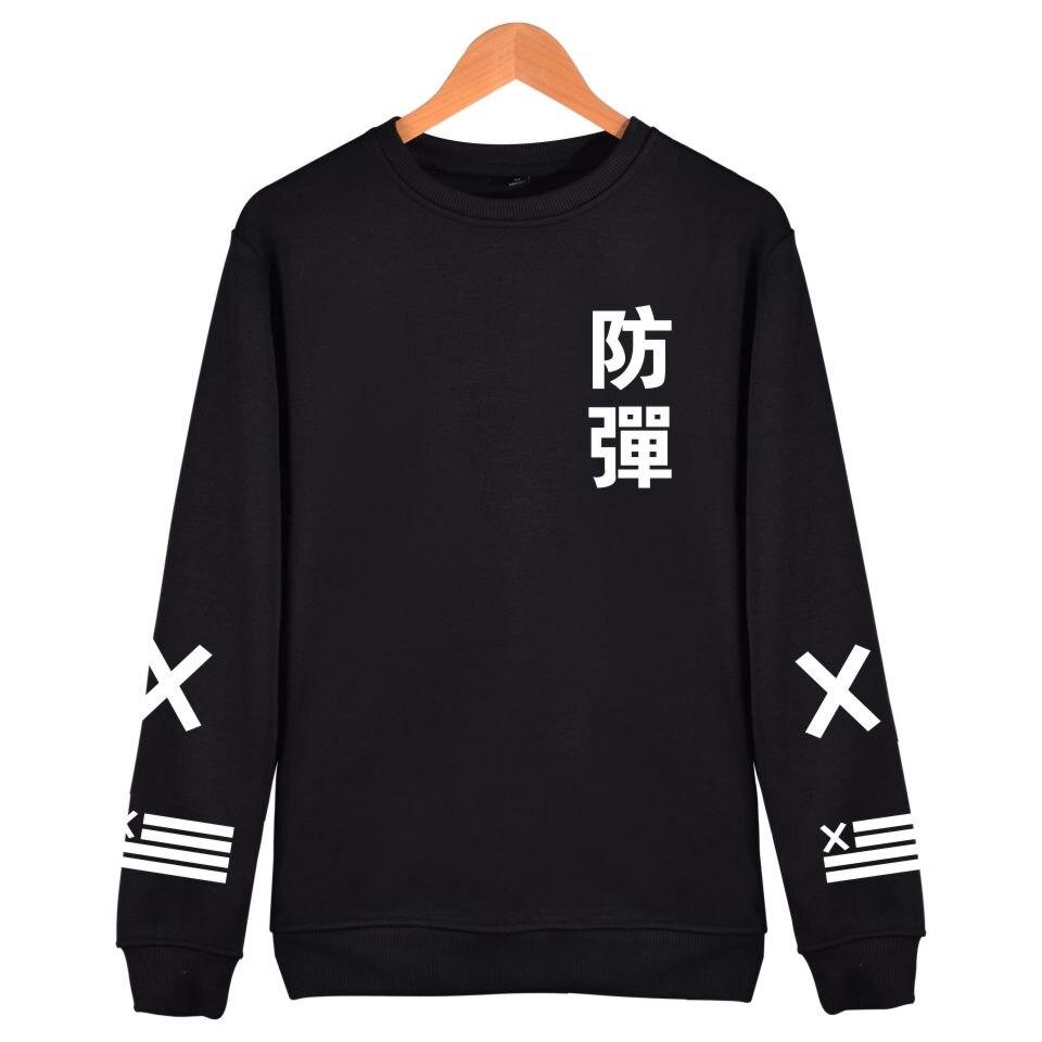 2018 BTS Kpop Harajuku sudaderas con capucha de los hombres de algodón negro moda Hip Hop abrigo sin tapa sudadera hombres BTS Casual coreano Bangtan ropa