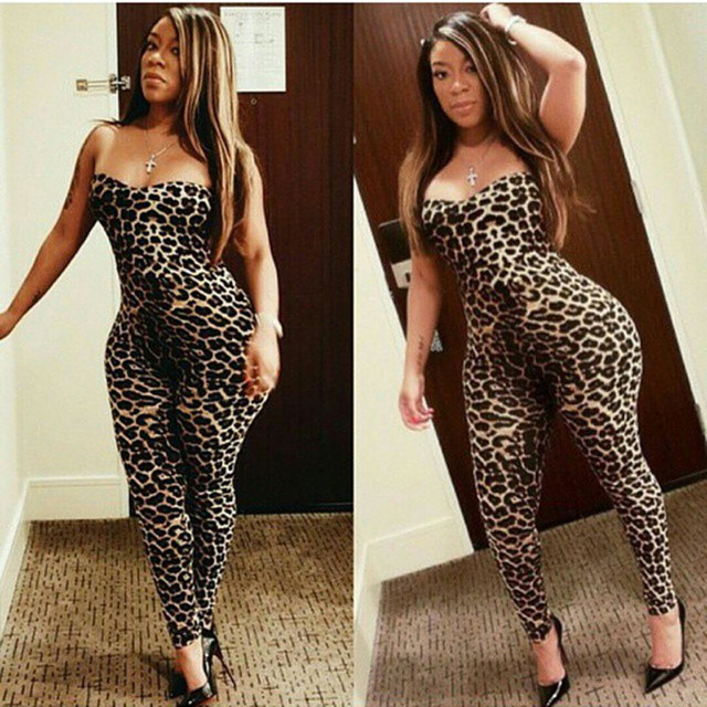8d68e8e4070 2016 2XL 3XL plus size jumpsuits rompers womens jumpsuit leopard playsuit  tight elegant jumpsuit Off the Shoulder Sexy Overalls