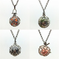 4pcs Mix Style Hollow Heart Apple Flower Locket Perfume Fragrance Essential Oil Aromatherapy Diffuser Charms Pendant