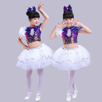 Boy girls jazz dance performing costumes childrens stage performances princess dresses latin dance, Sequin modern group