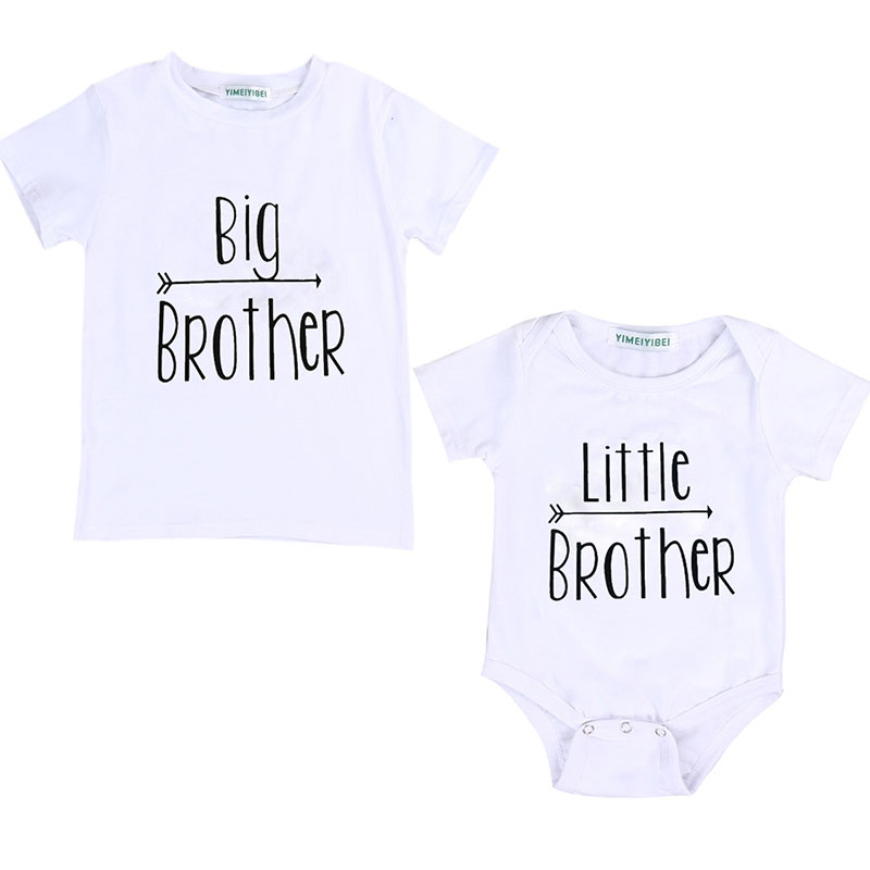 2019 Cotton Summer Letter Printed Little Big Brother Baby Boys Short Sleeve T-shirt Little Brother Romper Clothes Set
