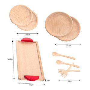 Image 5 - Outils de vaisselle en bois théière tasse à thé thé fête jouer jouet maison de poupée Miniature cuisine vaisselle accessoires pour enfants jouets