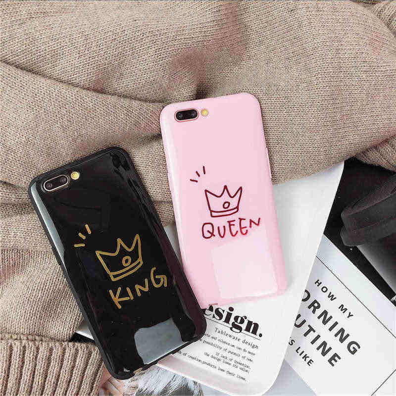 2cdd470bf7 ... fashion Love Couples Silicone Case For iphone XS Max XR 6 6s Plus Crown Heart  Painted ...