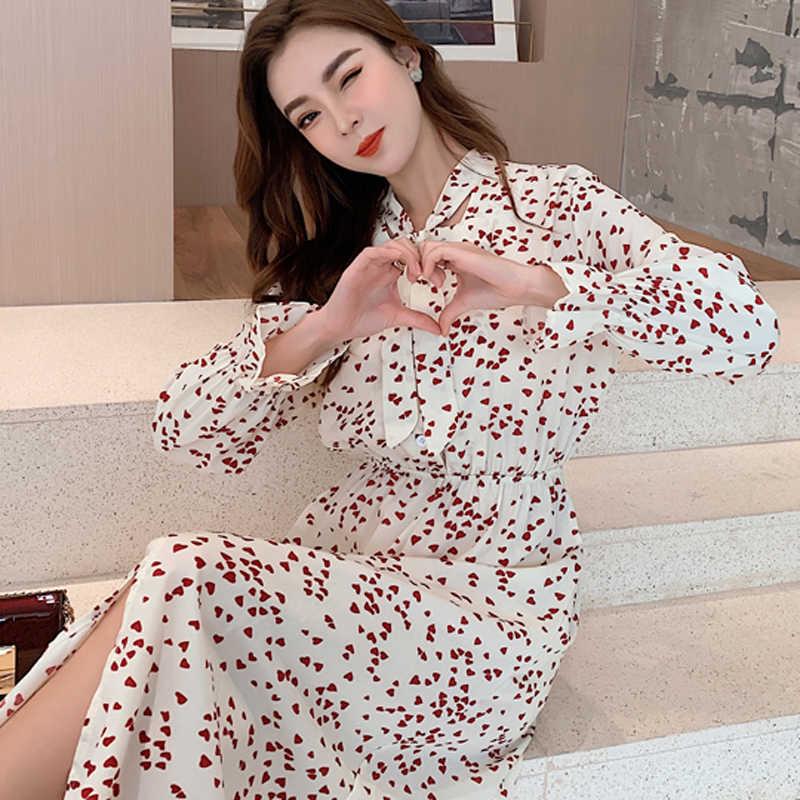 BGTEEVER, повседневное женское платье с бантом, воротником и принтом в виде красных сердечек, эластичная талия, однобортное женское платье, Vestidos, шифоновое летнее платье