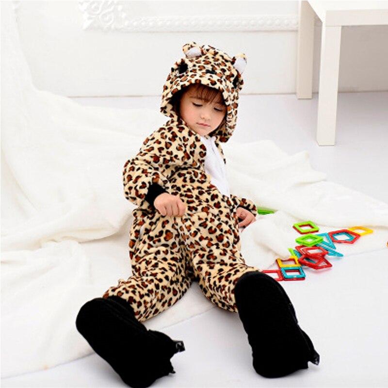 Winter Kids Pyjamas Flannel leopard Bear Hooded Animal Cartoon Cosplay Warm Pajamas Onesies Cute Children Home Clothing