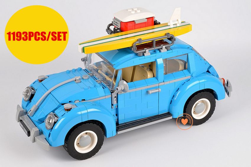 New Technic racer Series Blue beetle Car City fit legoings technic car city model Building Blocks bricks diy Toy gift kid 10252 new lepin 21003 series city car beetle model educational building blocks compatible 10252 blue technic children toy gift