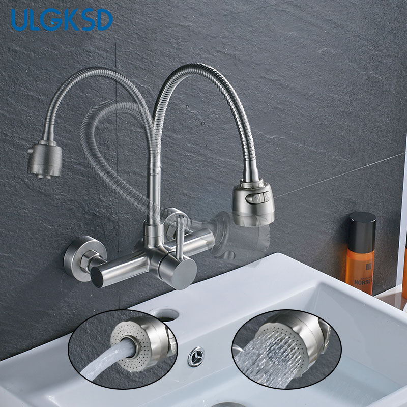 ULGKSD Kitchen Faucet 2 Types Outlet Sprayer Deck/Wall Mount Vessel Sink Faucets Mixer Tap Cold and Hot Water china sanitary ware chrome wall mount thermostatic water tap water saver thermostatic shower faucet