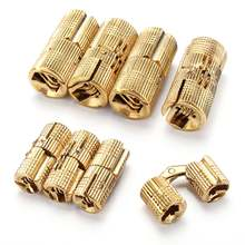 4PCS 8mm/12mm Copper Barrel Hinges Cylindrical Invisible Cabinet Concealed Invisible Brass Hinges Mount For Furniture Hardware(China)