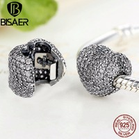 BISAER Genuine 925 Sterling Silver White CZ Pave Open My Heart Clip Charms Fit Pandora Bracelet