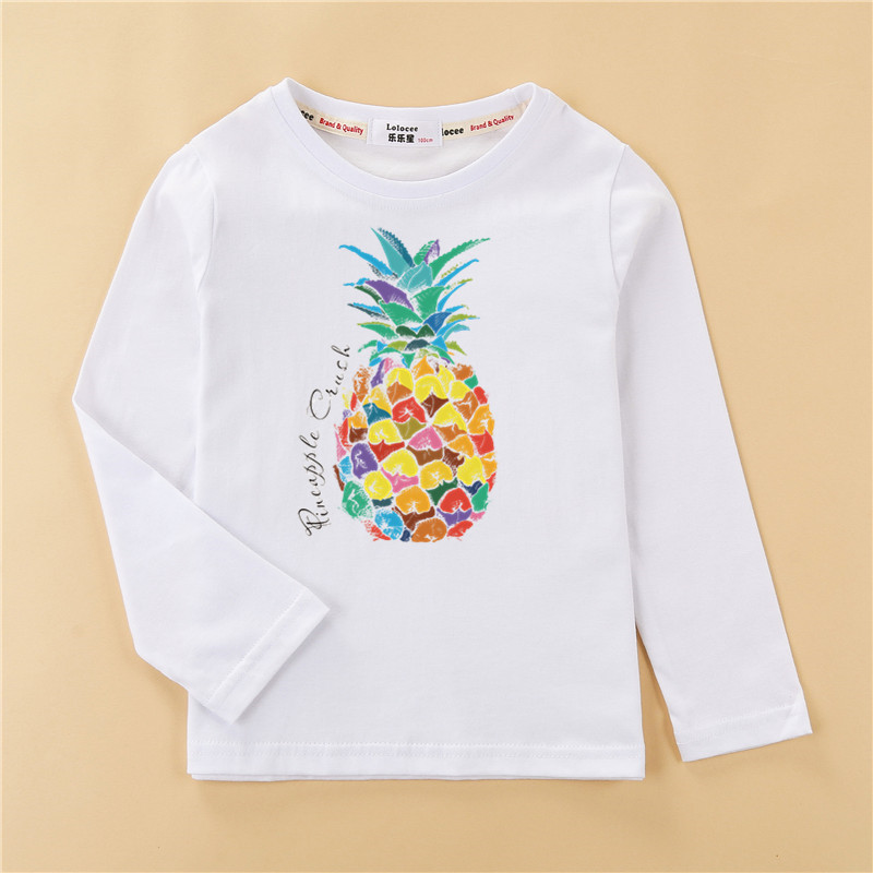 Kids US size clothes children tops 100% cotton shirt boy long sleeve t-shirt 4 planet design girl pineapple print tees 5