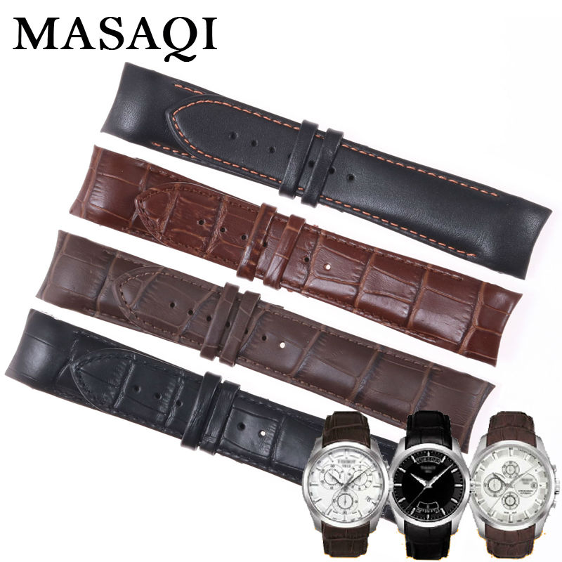 ФОТО MASAQI Men's Watch Bands 1853 For Tissot T035407A 617 Calf Genuine Leather Watch Strap T035627A Brand Watchbands 22MM 24MM