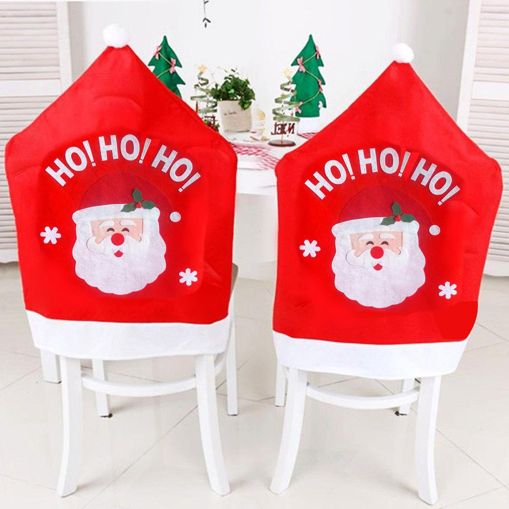 santa chair covers sets non slip cushions for chairs tatuo 4 pieces christmas decor claus red hat snowflake xmas cap