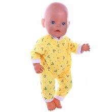 Кукольная одежда милый желтый пижамы Детские пижамы подходит 18 дюймов американская кукла для Chrid подарок на день рождения