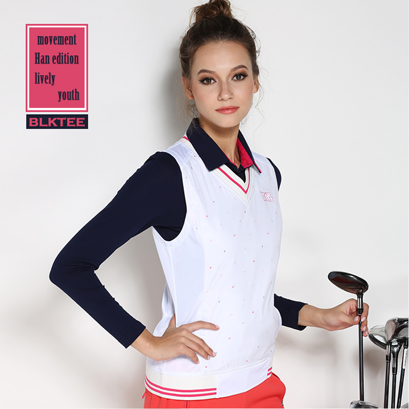 New arrival women's golf vest shirt Women autumn and winter sports windproof shirt sleeveless lady jacket  tops white outdoor