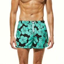 2018 Hot Men's Beach Pants Flowers Printed Surfing Board Shorts Quick Dry Beach Shorts Swimwear Men Swim Trunks Plus Size недорого