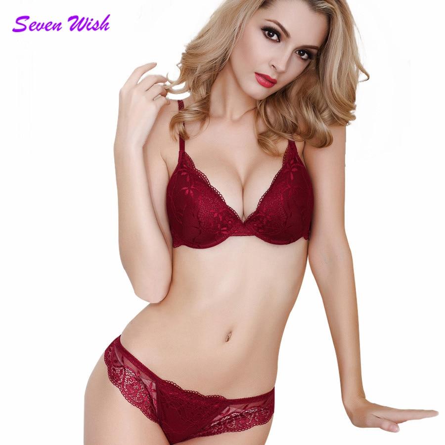 Summer fashion thin belt of deep V-neck women's sexy lace underwear adjustable push up   bra     set
