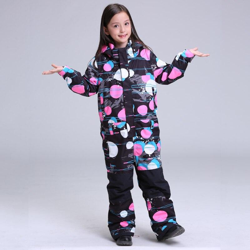 2018 GSOU SNOW Kids One Piece Ski Suit Girls Children Windproof Waterproof Snowboard Outdoor Sport Wear Super Warm Suit