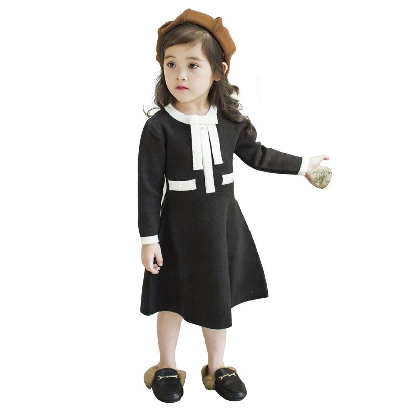2-8 yrs baby girls long sleeve dress 2018 autumn winter elegant princess knit sweater dresses school style black christmas frock цена