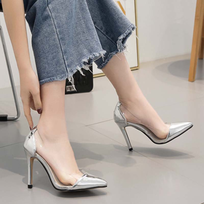 2019 PU Pumps Contracted Silver Serpentine Slip-On Shallow Pointed Toe Transparent Thin High Heel Size 35-40 Women Shoes2019 PU Pumps Contracted Silver Serpentine Slip-On Shallow Pointed Toe Transparent Thin High Heel Size 35-40 Women Shoes
